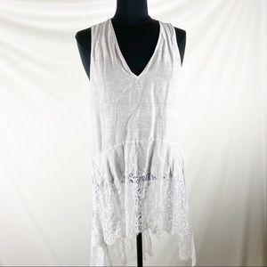 Zara Woman asymmetrical lace hem tunic, S